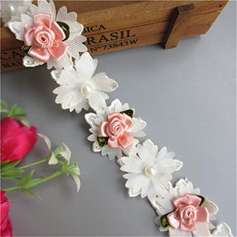 3 Yard Cotton Rose Flower Lace Edge Trim Ribbon 4 Width Vintage Style White Edging Trimmings Fabric Embroidered Applique Sewing Craft Wedding Bridal Dress Embellishment Party DIY Decoration