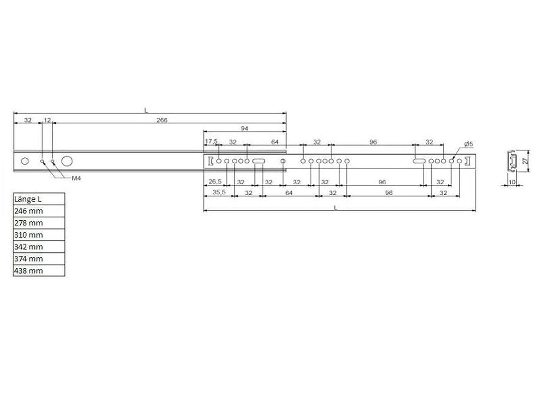 SO-TECH/® Extension de tiroir rail guidage /à billes de tiroir roulement H 27 L 438 mm coulisse pour tiroir