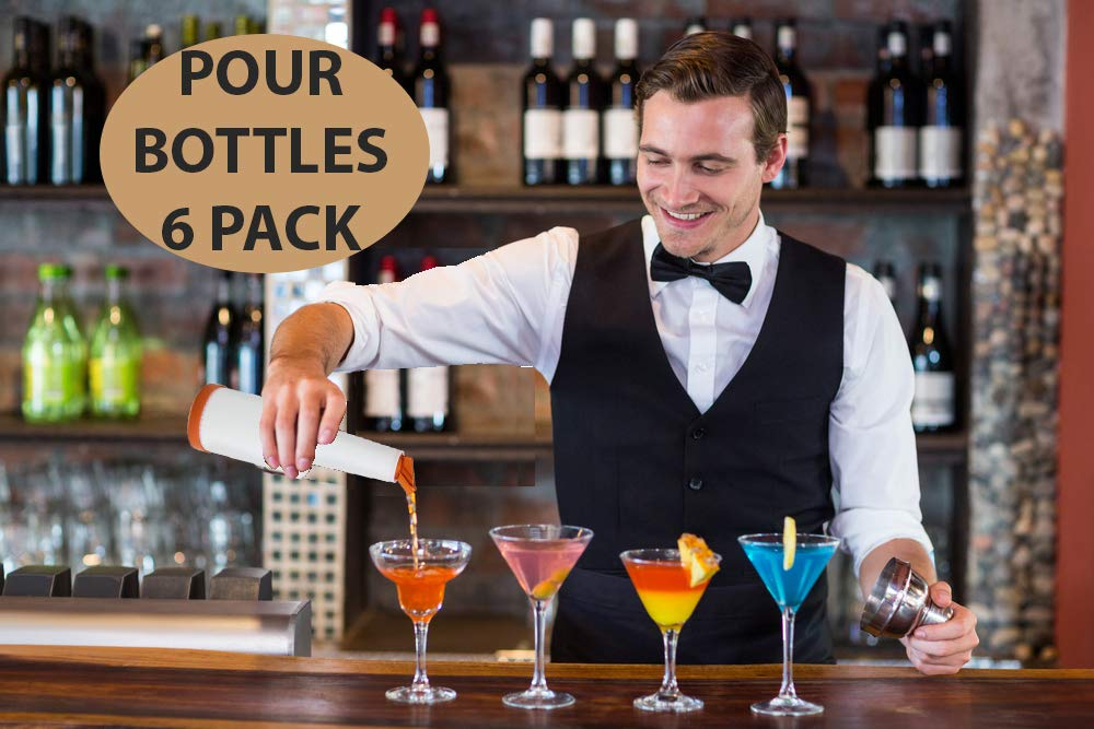 Bar Supplies Set - 3 Tier Glass Rimmer + 6 Alcohol Pour Bottles + 6 Liquor Bottle Pourers W/Tapered Spout by HeroFiber (Image #4)