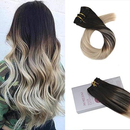 Moresoo Clip in Human Hair Extensions Capelli Veri Umani Balayage Colore  Nero 1B a