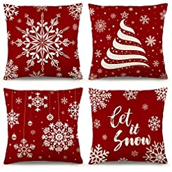 Christmas Farmhouse Home Decor YGEOMER Christmas Pillow Covers 18×18 Inch Set of 4 Farmhouse Pillow Covers Holiday Rustic Linen Pillow Case for Sofa… farmhouse christmas pillow covers