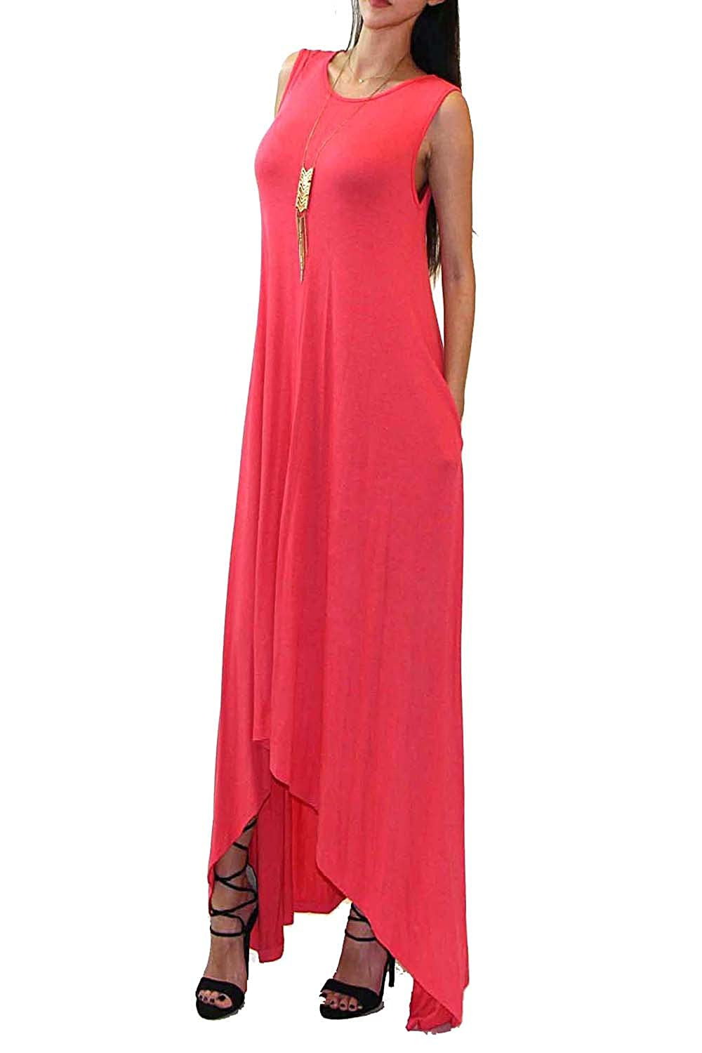 af76f21364 Vivicastle USA Batwing Oversized Loose Summer Tank Scoop Neck Pocket Long  Maxi Dress at Amazon Women's Clothing store:
