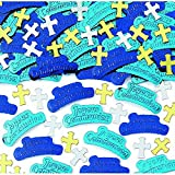 First Holy Communion Blue Embossed Confetti Party Decoration, Paper, 0.5 Ounces