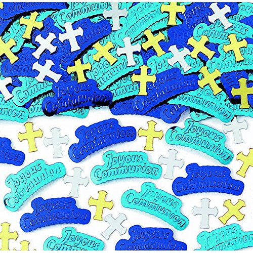 First Holy Communion Blue Embossed Confetti Party Decoration, Paper, 0.5 Ounces by Amscan