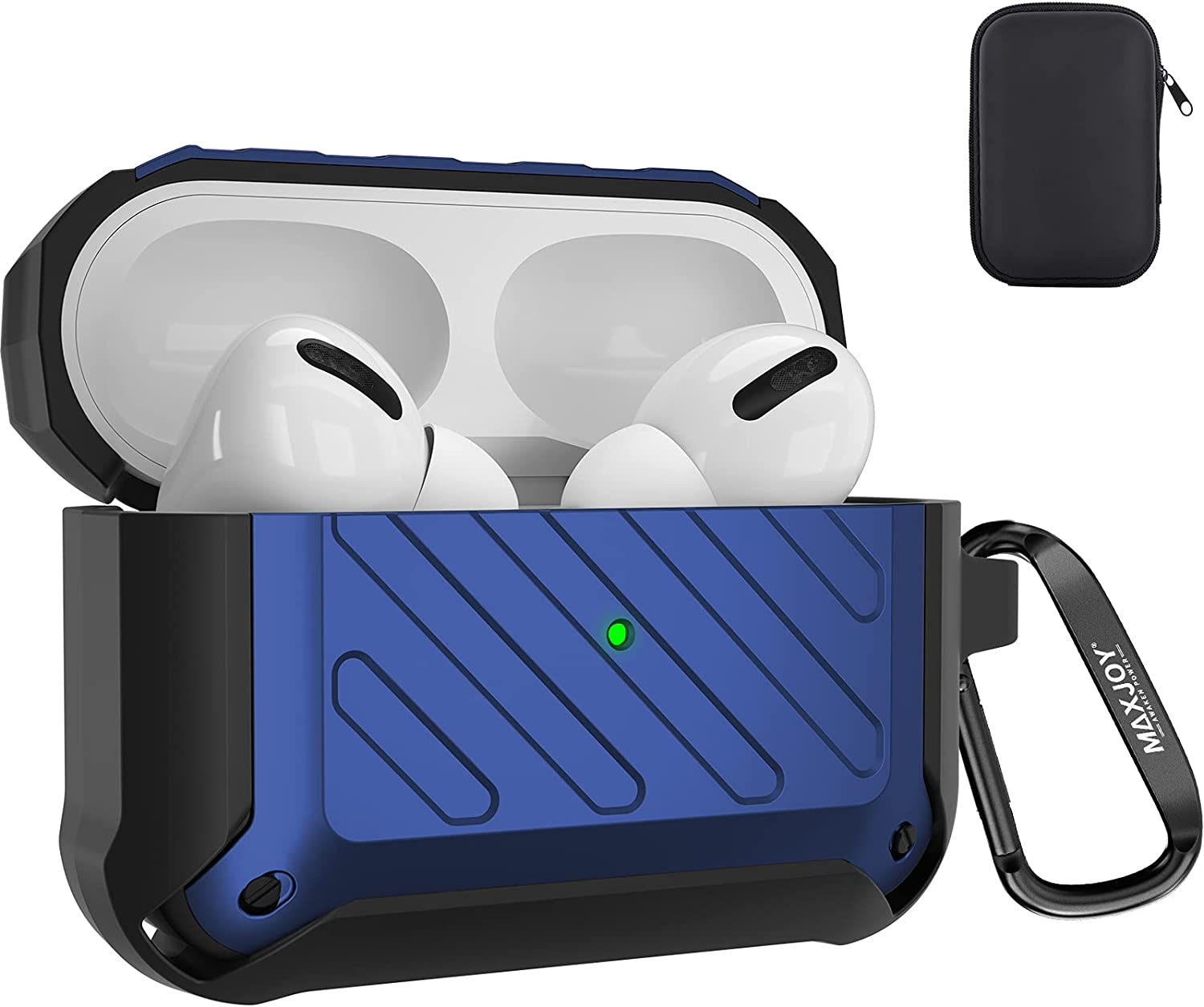 Maxjoy Compatible Airpods Pro Case Cover, Airpods Pro Protective Case Rugged Full-Body Hard Shell Shockproof Cover with Keychain Compatible with Apple Airpods Pro Charging Case Front LED, Dark Blue