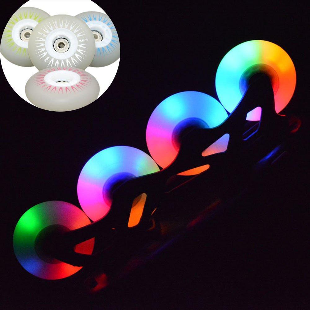Wanna-store 4Pcs Cool Flash Roller Wheels LED Light Up Inline Skate Wheels Sliding Outdoor Sport 64MM/68MM/72MM/76MM/80MM 90A- (Multicolor, 72mm)