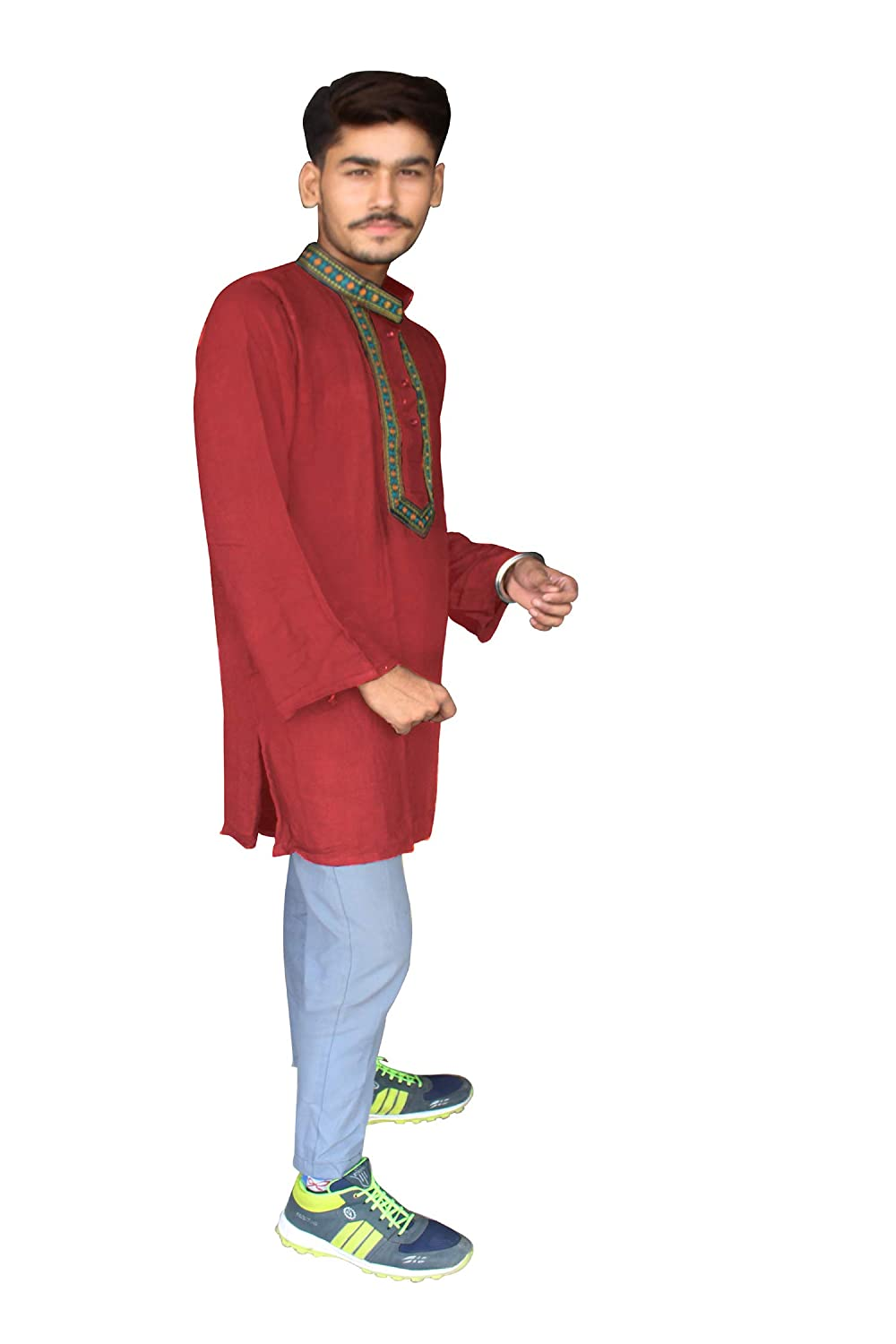 Lakkar Haveli Indian Mens Kurta Ethnic Embroidered Loose Fit Shirt Maroon Color Tunic Plus Size