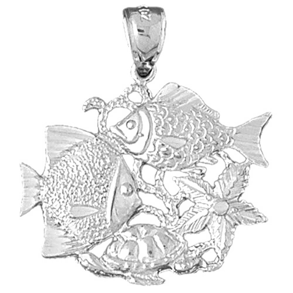 Rhodium-plated 925 Silver Tropical Fish /& Coral Pendant with 18 Necklace Jewels Obsession Tropical Fish And Coral Necklace