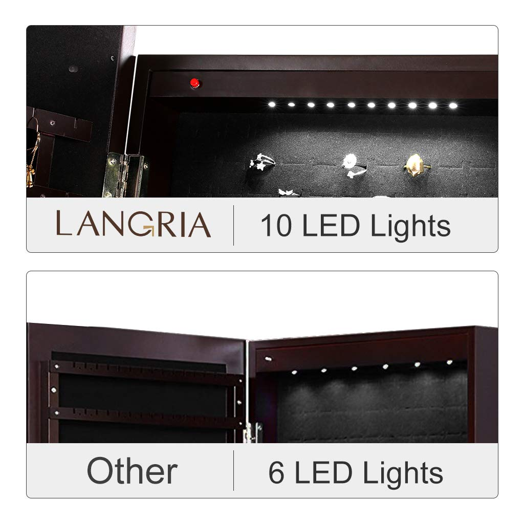 LANGRIA 10 LEDs Free Standing Jewelry Cabinet Lockable Full-Length Mirrored Jewelry Armoire with 5 Shelves, Organizer for Rings, Earrings, Bracelets, Broaches, Cosmetics, Brown by LANGRIA (Image #6)