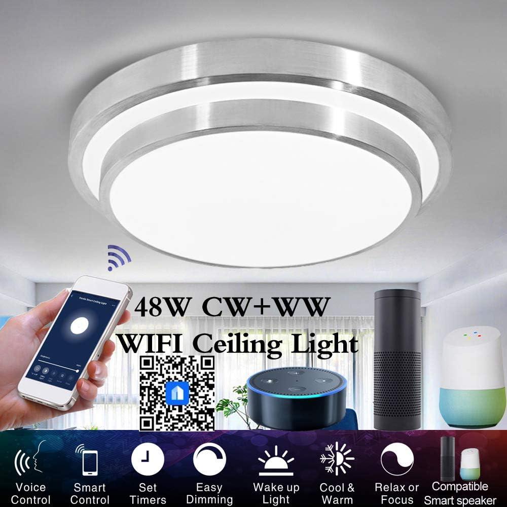 OWSOO Smart WiFi Deckenleuchte 48W stufenlose dimmbare LED-Leuchten Cloud Intelligence APP Fernbedienung Timing-Funktion Sprachsteuerung Kompatibel mit  Alexa//Google Home//IFTTT
