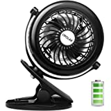 OPOLAR Battery Clip on Fan, Powered by USB or 2200mAh Rechargeable Battery, 360 Adjustable Wind, Personal Clip or Desk Fan with 3 Speeds, Multi Versatile for Office, Car, Baby Stroller and Outdoor