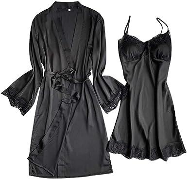 Swyss Women S Sleepwear Sexy Lace Trim Satin 2 Piece Robe And Nightgown Pajama Set With Belt At Amazon Women S Clothing Store