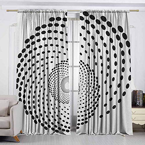 (VIVIDX Curtain Tailored,Spires,Minimalist Spiral Shape Dotted Monochrome with Swirling Twisting Helix Form Design,for Patio/Front Porch,W72x45L Inches Black White)