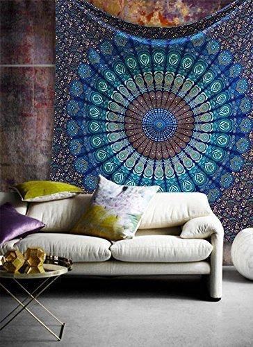 Hippie Mandala Bohemian Psychedelische Filigrane Blumenmuster Indische Bedspread magisches Denken Tapestry 84x90 Zoll, (215x230cms) Blaue Turkischesbad