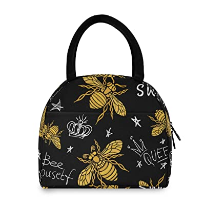 Insulated Lunch Bag Women - Hohey Bee Warm Lunch Box Washable Reusable Snack Lunch Tote Bag for Work/Picnic/School: Kitchen & Dining