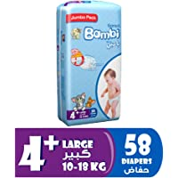Sanita Bambi Baby Diapers Jumbo Pack Size 4+, Large plus, 10-18 KG, 58 Count