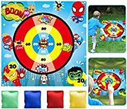 TICIAGA Superhero Lawn Dart Game of Safe Version, Throwing 4 Bean Bags on Polyester Score Mat, Bean Bag Toss G