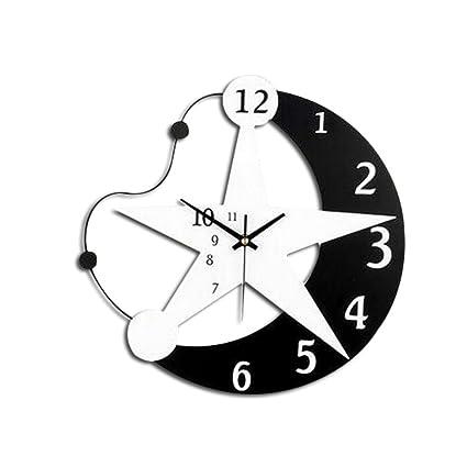 WINOMO Reloj de Pared de Madera Luna Estrellas Diseño Salón Relojes Silencioso Reloj Hogar Decoración