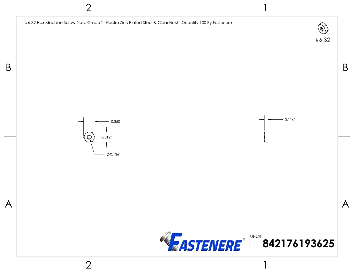 #6-32 Hex Machine Screw Nuts Quantity 100 by Fastenere Electro Zinc Plated Steel /& Clear Finish Grade 2