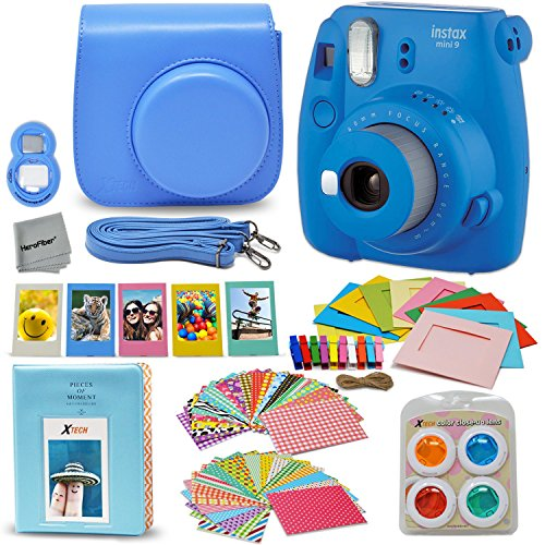Fujifilm Instax Mini 9 Instant Fuji Camera (Cobalt Blue) + Accessories Bundle + Custom Matching Case w/Neck Strap + Photo Album + Assorted Frames + 4 Color Filters + 60 Sticker Frames + More ()
