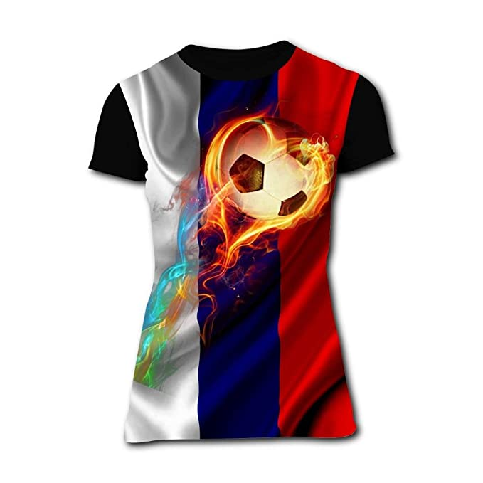 Elcacf Womens Burning Leap Football 2018 World Cup Short-Sleeve T-Shirts  Tees S bf7f429cff