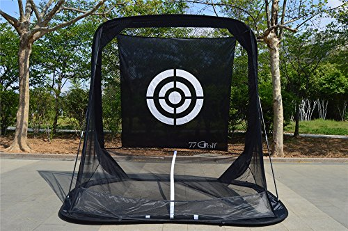 77tech Golf Practice Hitting Net Cage Automatic Ball Return System Tri-ball Golf Driving Chipping Net Training Aid with Target sheet and Two Side Barrier by Golf Net (Image #1)