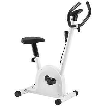 [pro.tec] Bicicleta estática para casa con Pantalla LCD Blanco Bicicleta Fitness Peso