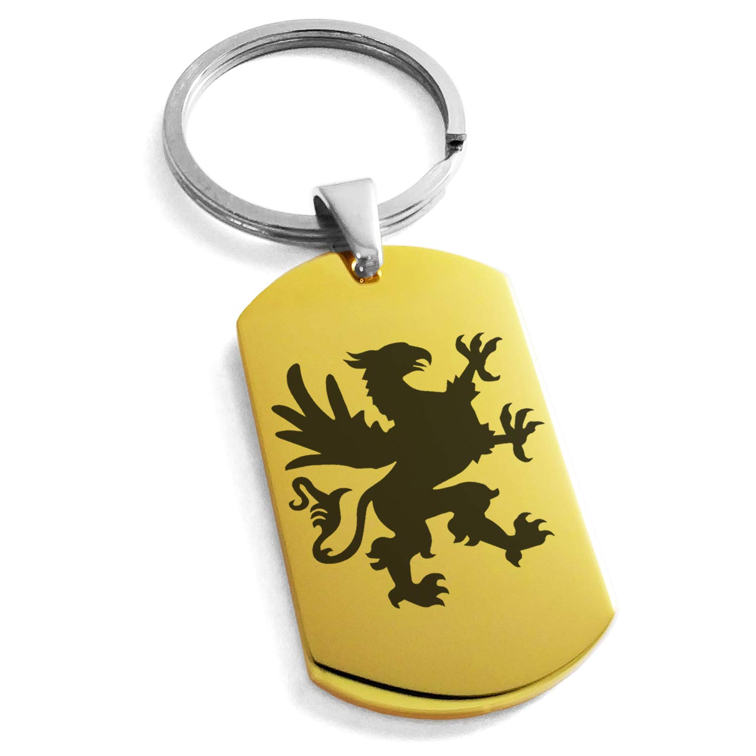 Tioneer Gold Plated Stainless Steel Grandiose Griffin Engraved Dog Tag Keychain Keyring