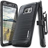 COVRWARE Samsung Galaxy S7 Edge Case, [Iron Tank] w/ [Full-Coverage Screen Protector] Heavy Duty Full-Body Rugged Holster Armor [Brushed Metal Texture] Case [Belt Clip][Kickstand], Black