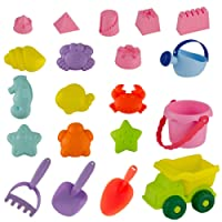 Biubee 20 Pcs Soft Plastic Beach Sand Toys for Kids and Toddlers - Sandbox Playing Toys Set with Bucket, Shovel, Sea Animals and Castle Building Molds