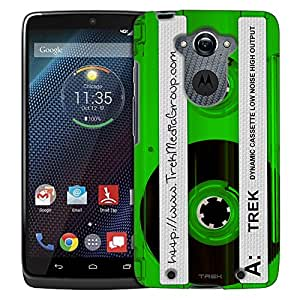 Motorola Droid Turbo Case, Slim Fit Snap On Cover by Trek Retro Clear Cassette Tape Green Trans Case