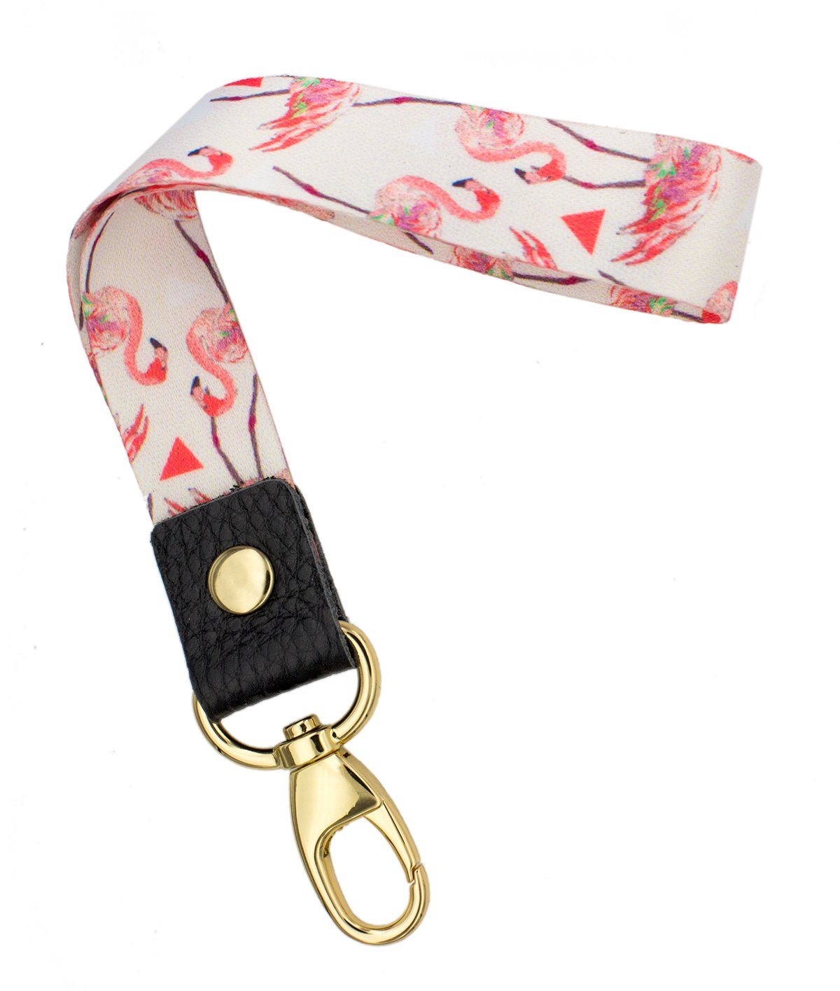 SENLLY Flamingo Hand Wrist Lanyard Premium Quality Wristlet Strap with Metal Clasp and Genuine Leather, for Key Chain, Camera, Cell Mobile Phone, Charms, Lightweight Items etc