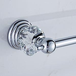 AUSWIND Polish Crystal Towel Bar 23-Inch Chrome Finish Wall Mount Towel Rack Bathroom Accessories
