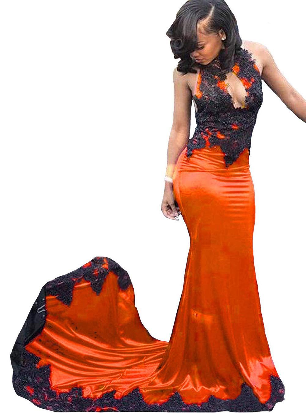Long Orange Evening Dresses