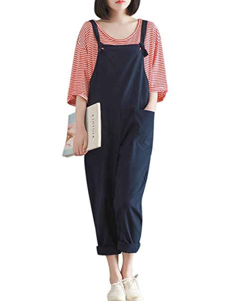 4f05ac49d908 Yeokou Women s Loose Baggy Linen Wide Leg Jumpsuit Rompers Overalls Harem  Pants (Small