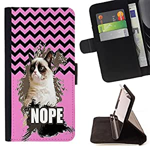 - Chevron Grumpy Cat - - Premium PU Leather Wallet Case with Card Slots, Cash Compartment and Detachable Wrist Strap FOR Apple iPhone 6 6S Plus 5.5 King case