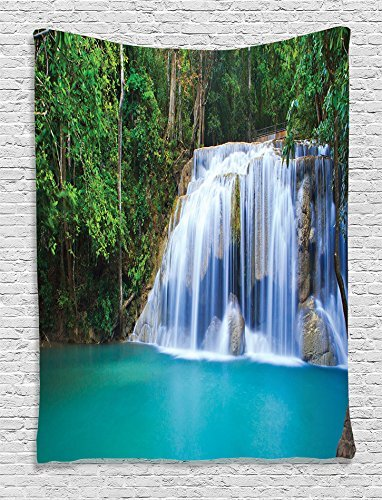 (Waterfall Decor Collection, Hidden Pool in Forest Rocky Brook Waterfall and Foliage Picture, Bedroom Living Kids Girls Boys Room Dorm Accessories Wall Hanging Tapestry, Turquoise Green)