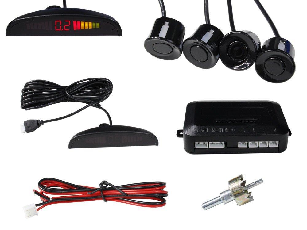Vetrineinrete® 4 sensori di parcheggio con display a led e segnale acustico nero Kit Completo A27