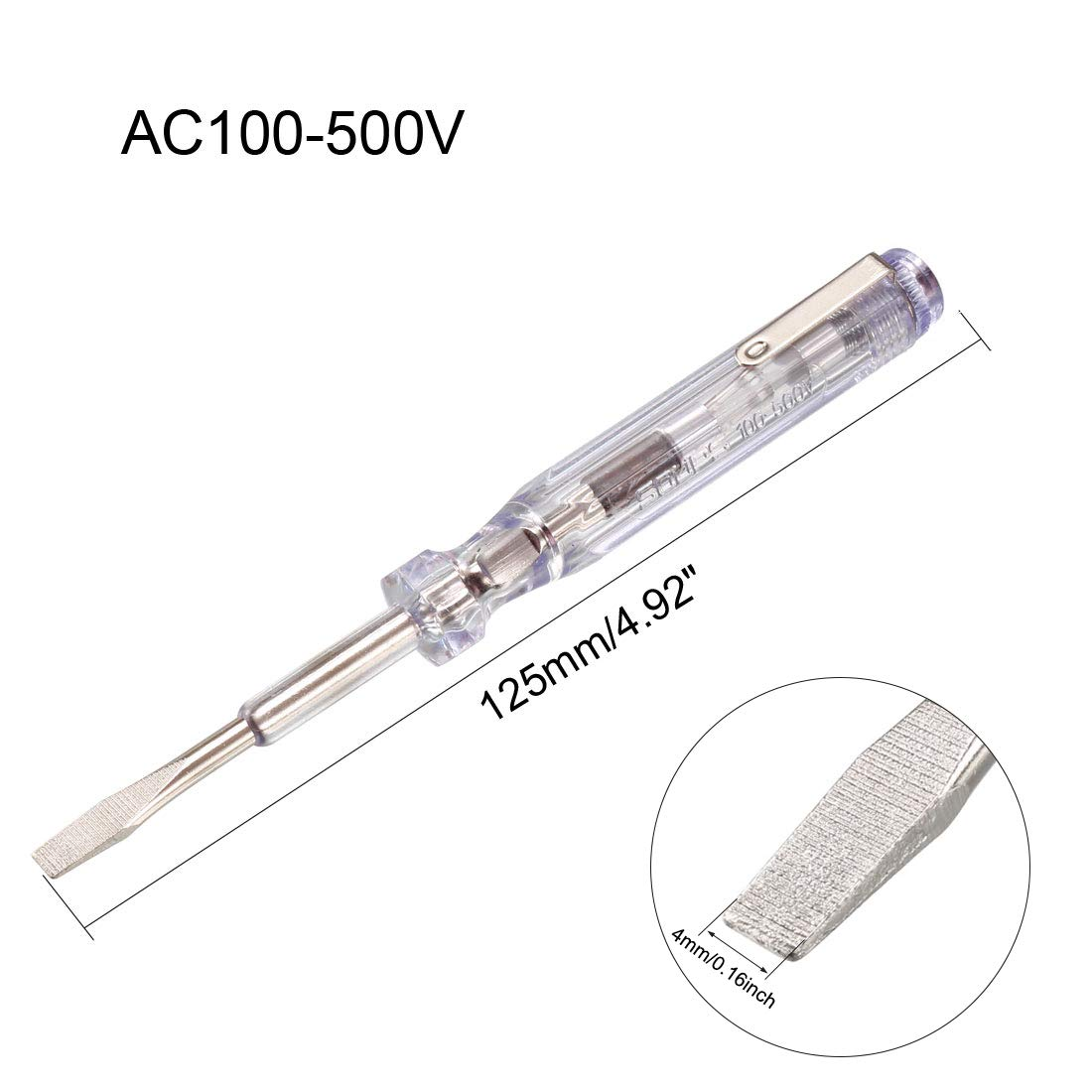 Ac100-500v 4 mm ranurado pluma probador de ancho de punta plana destornillador Sourcingmap