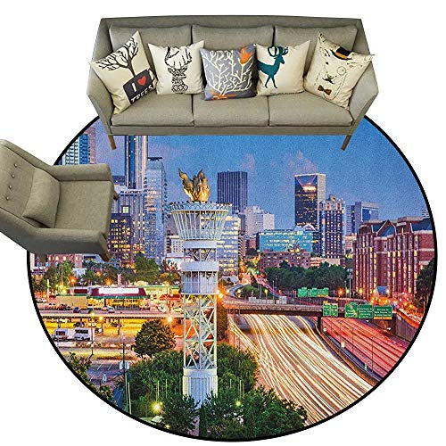 - United States,American Floor mats Atlanta Georgia Urban Busy Town with Skyscrapers City Landscape D66 Home Bedroom Floor Mats