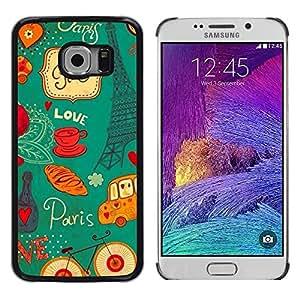 LECELL--Funda protectora / Cubierta / Piel For Samsung Galaxy S6 EDGE SM-G925 -- Eifel Tower French France Paris --