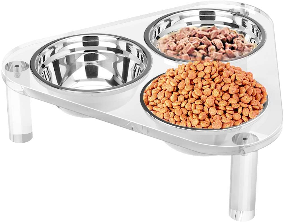 NIUBEE Raised Cat Dog Bowls, Clear Acrylic Elevated Pet Feeder with Dishes for Food and Water