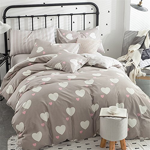 EnjoyBridal Teens Kids Bedding Cover Sets and 2pc Pillow Shams,Reversible Cotton Love Heart-Shaped Queen Duvet Cover Sets for Boys Girls, No Comforter (Queen, Heart-Shaped)