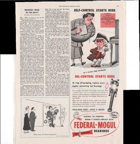 Federal-Mogul Oil Control Bearings Car Auto 1953 Vintage Antique Advertisement