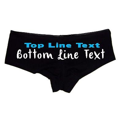 Create Your Own 2 Line Text Custom Booty Shorts Boyshort Sexy Panties Black b9bb6371e0c