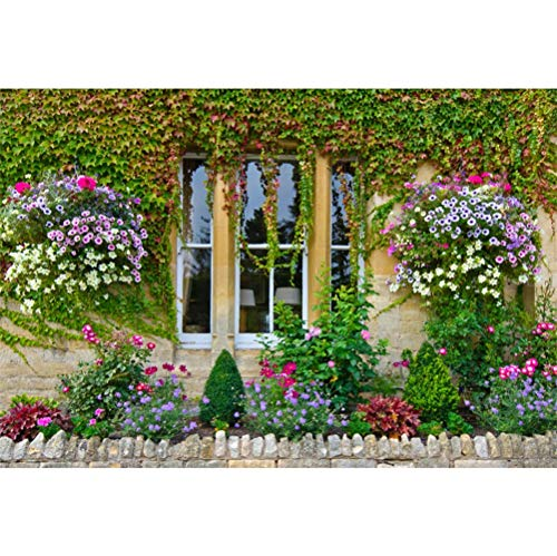 Laeacco Beautiful Flowers Ivy Covered Window Wall Scene 10x6.5ft Vinyl Photography Background Spring Scenic Backdrop Bridal Shower Wedding Shoot Landscape Wallpaper Studio Props