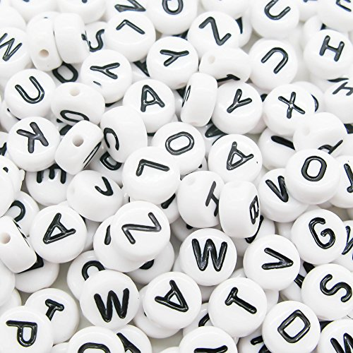 Word Beads Set - TOAOB 800Pcs 6mm Round Acrylic Letter Beads White Alphabet Beads for DIY Bracelets Necklaces Children's Educational Toys Handmade Gift