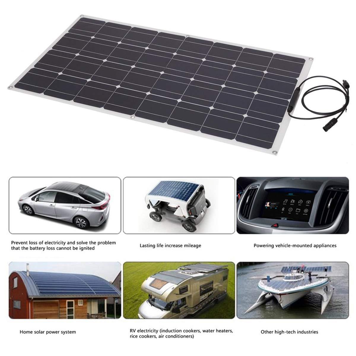 Holarose 100W Monocrystalline Flexible Solar Panel, Waterproof Flexible  Monocrystalline Lightweight Solar Power System for RV, Boats, Roofs, Cabin,
