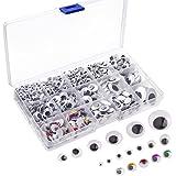 Kuuqa 1200 piezas de plástico autoadhesivo Wobbly Googly Wiggle Eyes para DIY Craft Scrapbooking Accesorios, Teddy Bear muñeca hacer juguetes ojos (tamaños surtidos)