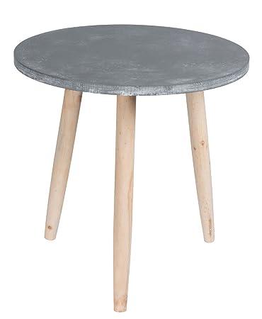 Holz Beistelltisch In Steinoptik   45x44 Cm   Couchtisch Sofatisch Deko  Tisch Rund